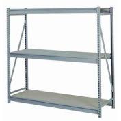 "Bulk Storage Rack Starter, 3 Tier, Particle Board, 96""W x 24""D x 84""H Gray"