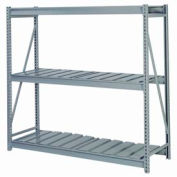 "Bulk Storage Rack Starter, 3 Tier, Ribbed Decking, 96""W x 24""D x 84""H Gray"