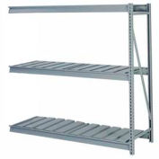 """Bulk Storage Rack Add-On, 3 Tier, Ribbed Decking, 96""""W x 36""""D x 84""""H Gray"""
