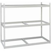"""Record Rack Starter, Particle Board, 30 Box  Cap, 69""""W x 16""""D x 60""""H, 3 Level Gray"""