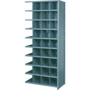 """Lyon Shelving Add-On DD8102 - 36 Compartment 10 Traditional Shelves, 36""""Wx24""""Dx84""""H Gray"""