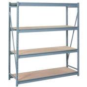 """Bulk Storage Rack Starter, 4 Tier, Particle Board, 96""""W x 24""""D x 96""""H Putty"""