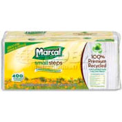 "Marcal Recycled Lunch Napkins, 1-Ply, Quad Fold, 12-1/2"" x 11-1/4"", 400/Pack, White"