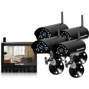 "4-CH Wireless Security System with 7"" LCD/SD DVR and 4 Cameras with Night Vision/Audio"