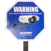 Reflective Security Warning Sign with Yard Stake - SM-SIGN