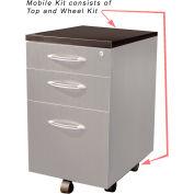 Safco® Aberdeen Series Pedestal Mobile Kit for APBF20 Suspended Credenzas Mocha