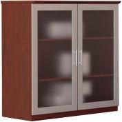 """Safco® Medina Series 36"""" Glass Door Cabinet Mahogany"""