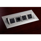 Safco® Power and Data Module with 2 Power and 2 Data Outlets Silver