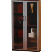 "Safco® Corsica Series 68"" Wall Cabinet with Glass Doors Sierra Cherry"