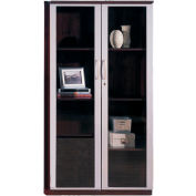 "Safco® Corsica Series 68"" Wall Cabinet with Glass Doors Mahogany"