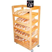 "Upright Bakery Display W/ 5-Shelve, 31""L x 21""W x 60-1/2""H, Hardwood, Opticlear Laquer"
