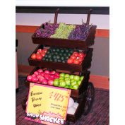 "Portable Hand Cart W/ 4 Shelve, 30""L x 35""W x 56-3/4""H, Wood, Select Cherry"