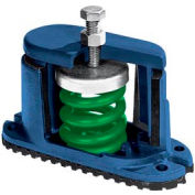 "Housed Spring Floor Mount Vibration Isolator - 5-3/4""L x 2-1/8""W Green"
