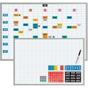 "Magna Visual® Dry Erase Board, 1""X2"" Grid w/Magnetic Strip Planning Kit, 48""W x 36""H"