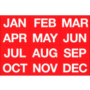 Magnetic Headings Months Of The Year, White on Red