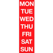 Magnetic Headings Days Of The Week, White on Red