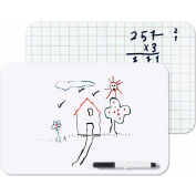 "MasterVision Dry-Erase Lapboard, Reversible Plain and Gridded Surface, 8.25"" x 12"", Non-Magnetic"