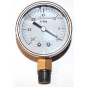 "Mitco P126lm Pump Test Gauge, 0-30 Hg Vacuum, Liquid Filled, 2"" Face"