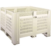 "Macro Plastics MacroBin® Bulk Container Vented 32-FVLF - 44-3/4""L x 48-1/4""W x 29-7/8""H, Ivory"