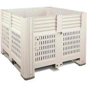 """Macro Plastics MacroBin® Bulk Container 34-SLF - 44-3/4""""L x 48-1/4""""W x 34-5/8""""H, Ivory"""