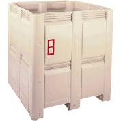 "Macro Plastics MacroBin® Bulk Container 48-S - 48-1/8""L x 48-1/8""W x 52-1/2""H, Ivory"