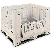 """Macro Plastics Shuttle Bin 330 Folding Container SB330-FV-1D - 40""""L x 48""""W x 33""""H, Tan"""