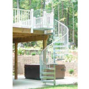 "Spiral Staircase Kit - The Iron Shop, Bay, CODE Steel/Dmd Plt, 5'0"", 12 Riser, Galvanized"
