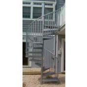 "Spiral Staircase Kit - The Iron Shop, Bay, CODE Steel/Dmd Plt, 6'0"", 12 Riser, Galvanized"