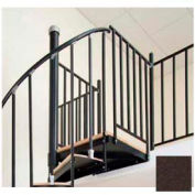 """Spiral Staircase Kit - The Iron Shop, Beach, Aluminum Tube Balcony Rail, 5'0"""", Weathered Brown"""