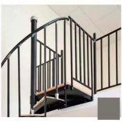 "Spiral Staircase Kit - The Iron Shop, Beach, Aluminum Tube Balcony Rail, 5'0"", Gloss Brown Grey"