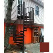 "Spiral Staircase Kit - The Iron Shop, Beach, CODE Alum/Dmd Plt, 5'6"", 11 Riser, Gloss Brick Red"