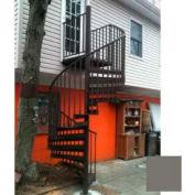 "Spiral Staircase Kit - The Iron Shop, Beach, CODE Alum/Dmd Plt, 5'6"", 11 Riser, Gloss Brown Grey"