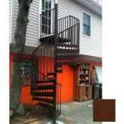 "Spiral Staircase Kit - The Iron Shop, Beach, CODE Alum/Dmd Plt, 5'6"", 13 Riser, Gloss Brown"