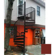 "Spiral Staircase Kit - The Iron Shop, Beach, CODE Alum/Dmd Plt, 5'6"", 13 Riser, Gloss Brick Red"