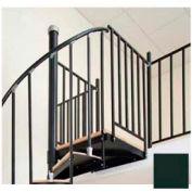 "Spiral Staircase Kit - The Iron Shop, Beach, Aluminum Tube Balcony Rail, 5'6"", Gloss Hunter Green"