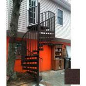 "Spiral Staircase Kit - The Iron Shop, Beach, CODE Alum/Dmd Plt, 6'0"", 11 Riser, Weathered Brown"