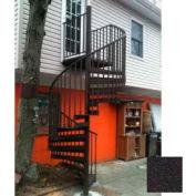 "Spiral Staircase Kit - The Iron Shop, Beach, CODE Alum/Dmd Plt, 6'0"", 12 Riser, Dark Roast"