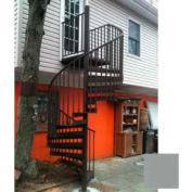 "Spiral Staircase Kit - The Iron Shop, Beach, CODE Alum/Dmd Plt, 6'0"", 12 Riser, Gloss Classic Grey"