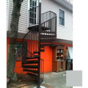 """Spiral Staircase Kit - The Iron Shop, Beach, CODE Alum/Dmd Plt, 6'0"""", 13 Riser, Gloss Light Grey"""