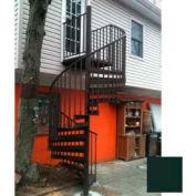 """Spiral Staircase Kit - The Iron Shop, Beach, CODE Alum/Dmd Plt, 6'0"""", 13 Riser, Gloss Hunter Green"""