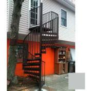 """Spiral Staircase Kit - The Iron Shop, Beach, CODE Alum/Dmd Plt, 6'0"""", Add'l Riser, Gloss Light Grey"""