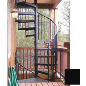 "Spiral Staircase Kit - The Iron Shop, Everyday, Standard Steel/Dmd Plt, 4'0"", Add'l Riser, Black"