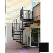 "Spiral Staircase Kit - The Iron Shop, Everyday, CODE Steel/Dmd Plt, 5'6"", 12 Riser, Black"