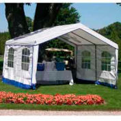 14'W x 32'L x 9'H Party Tent, White With Blue Trim