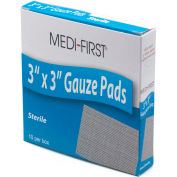 "Medi-First® Sterile Gauze Pad, 3"" x 3"", 10/Box, 61212 - Pkg Qty 5"