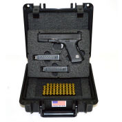 Quick Fire Pistol Case With Glock Inserts & Lock QF300BKLG4 Watertight, 10-11/16x9-3/4x4-13/16 Black