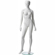 ADF-2-1313 Female Mannequin - Realistic Head, Arms at Side, Waist Turned, Right Leg Forward -White