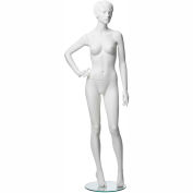 ADF-3-1313 Female Mannequin - Realistic Head, Right Hand on Hip, Left Leg Slightly Bent -White