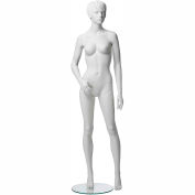 ADF-5-NH1313 Female Mannequin - Realistic Head, Right Arm Slightly Forward, Legs Straight -White