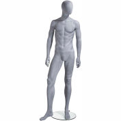 UBM-2 Male Mannequin - Oval Head, Arms at Side, Right Leg Slightly Bent - Slate Grey-Natural